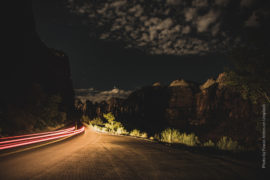 car on the road at night